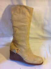 Faith Beige Mid Calf Suede Boots Size 4
