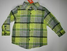 New Gymboree Ice All-Star Line Lime Check Plaid Flannel Shirt size 18-24M NWT