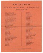 NOTICE VUES SUR VERRE COULEUR vers 1900 / lanterne magique magic lantern