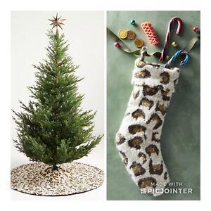 2 ANTHROPOLOGIE LEOPARD SWEATER KNIT VELVET CHRISTMAS TREE SKIRT & STOCKING SET