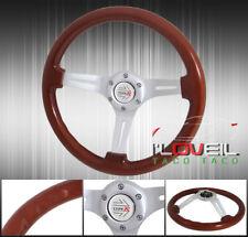 345mm Light Wood Grain Chrome 6-Bolt Hole Steering Wheel + Jdm Race Type Button