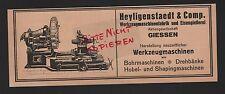 GIESSEN, Werbung 1918, Heyligenstaedt & Comp. Werkzeugmaschinen-Fabrik Eisengies
