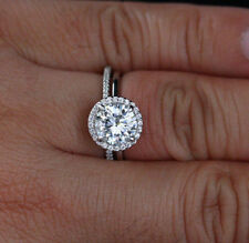 Diamond Engagement Bridal 925 Silver Ringset Off White Round Cut 7Mm Moissanite