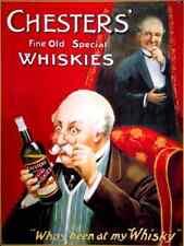 Chester's Whisky Old Vintage Advertising Drink Bottle Pub Large Metal/Tin Sign
