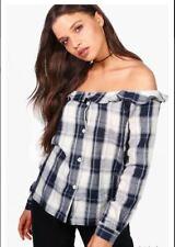 Boohoo Womens US 4 Imogen Bardot Choker Check Top Plaid Off Shoulder Button LS