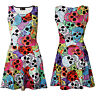 Ladies Cute Gothic Multi Sugar Candy Skulls Web Sleeveless Skater Flared Dress