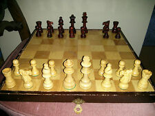 """Vintage wooden chess set with 14"""" board, incomplete"""