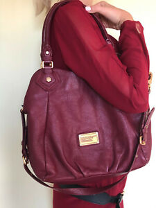 MARC by MARC JACOBS Q Francesca BURGUNDY WINE Pebbled Leather Tote  Handbag LG