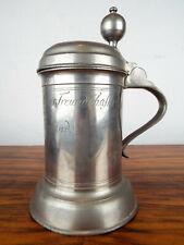 Vintage 1820s German Solid Pewter Walzenkrug Stein Wedding Gift Stein Touch Mark