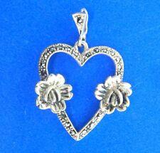 """Vintage Sterling Silver Marcasite Heart Floral Rose Pendant 1.25"""""""