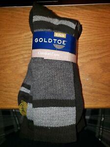 Gold Toe Men's Socks Cotton Comfort Crew 6- pair pack, Multi color 6-12.5