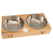 Double Food Water Pet Feeding Bowl Dog Puppy Cat Kitten Dishes Feeders Fountains