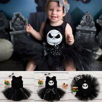 Newborn Infant Baby Girls Halloween Print Romper+Tutu Skirt Costume Outfits Set