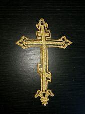Biblia de oro metálico Cruz Bautizo Parche bordado de encaje y apliques Motif