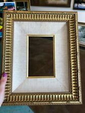 "Custom Made Frame Holds 4 1/2"" X 7 Gold  Double Tier Overall 14 1/2"" X 12"" Linen"
