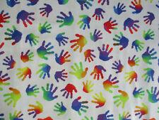 RAINBOW HANDS KIDS AUTISM AWARENESS WHITE DIGITAL ART COTTON FABRIC FQ