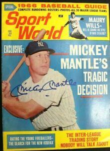 Mickey Mantle (d.1995) Signed Autographed Magazine June 1966 SPORT WORLD JSA