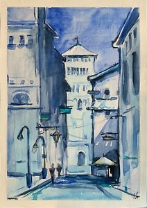 original painting A4 339VE art samovar watercolor cityscape Architecture Signed