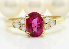 2.35 CTW Natural PINK TOURMALINE and DIAMOND in 14K Yellow Gold Women Ring