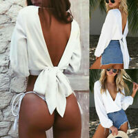 Women Sexy Hollow Out Deep V Tops Long Sleeve Backless Bow Knot Blouse T-Shirt