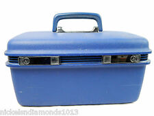 Vintage Samsonite Blue Black Striped Make-Up case w/ Mirror Train Luggage Vanity