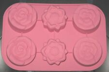 Pink Silicone Zone Flower Muffin /Mini Cake Molds NEW Large Cupcakes