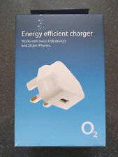 GENUINE O2 ENERGY EFFICIENT MAINS CHARGER - UK 3 PIN - USB  - MICRO USB