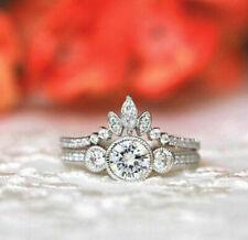 Engagement Ring Wedding Band Bridal Set 3 Ct Diamond 3-Stone 14K White Gold Over