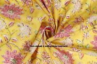 5 Yard Indian Hand Block Print Cotton Dress Material Yellow Pink Floral Fabric
