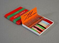 Bowlepiecker Partygabeln Früchtespiesse Gabeln Pastellfarben in OVP 50er Jahre