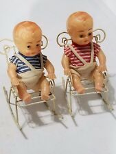 2 Vintage Hard Plastic Twins Sleepy Eyes Dolls w/Metal Wire Rocking Chairs