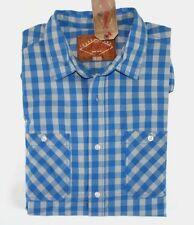 Red Camel - L - Nwt - Blue & Gray Gingham Check Long Sleeve Cotton Pocket Shirt