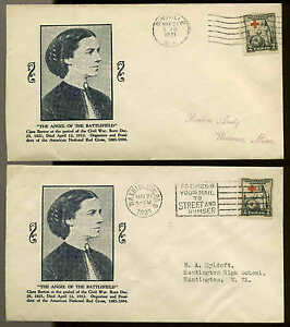 702 RED CROSS FDC SET OF 2 CITIES ON MATCHED  PLANTY P1 STOUTZENBERG CACHET