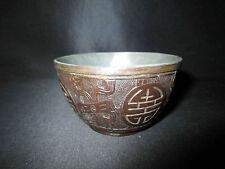 ancien bol tasse à saké en noix de coco sculpté et étain XIX ème