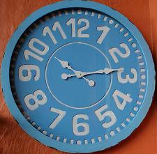 STUNNING ! Large Round Blue  Metal   Wall Clock    60 cm  BRAND NEW