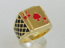 17x15 mm No Stone Red Enamel Casino Las Vegas Ace Spades Men Poker Ring Size 14