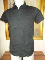 Chemise coton noir KAPORAL S manches courtes logo brodé dans la nuque