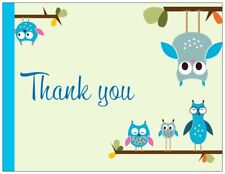 10 NOTE CARDS THANK YOU CARD envelopes blue owl new baby boy bridal shower gifts