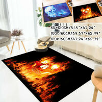 Non-slip Floor Mat Carpet Living Room Area Rugs Flame Skull Home Decor