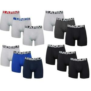 """Under Armour Mens UA Charged Cotton 6"""" Stretch BoxerJock Underwear 3-Pack"""