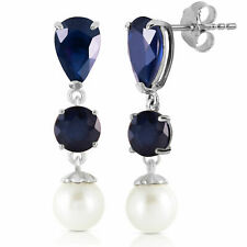 Original Zafiro Azul Piedras Preciosas Cultivada Perlas Colgantes Pendientes