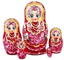 Red & Gold Gzhel Russian Matryoshka Nesting 5-Doll Set Hand-painted Import New