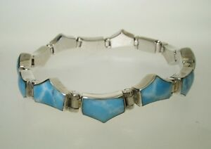 SOLID SILVER BRACELET WITH BLUE STONES