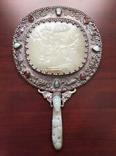 Antique Chinese Qing Dynasty Silver Hand Mirror with Carving Jade and Gemstones