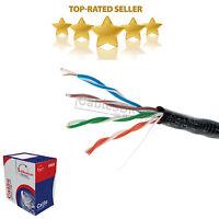 1000FT CAT5E Solid Wire Bulk Ethernet Network Lan Cable RJ45 Black
