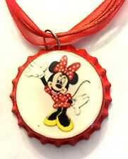 Handmade Minnie Mouse Inspired Bottle Cap Organza Voile Necklace