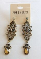 Great GIFT 10 Pairs Forever 21 Gold-toned  Chandelier Crystal  Teardrop Earring
