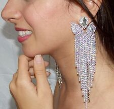 Clear Rhinestone AB Crystal Chandelier Earrings Drag Queen Pageant Clip On  5.7""