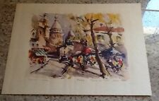 VINTAGE MAURICE GIRARD SIGNED COLORED PARIS PRINT