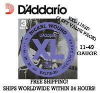 ~D'Addario EXL115 Nickel Medium Electric Guitar Strings - 3P Value Pack 11-49  ~